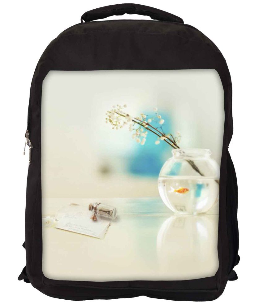 Snoogg White and Blue Nylon Laptop Backpack
