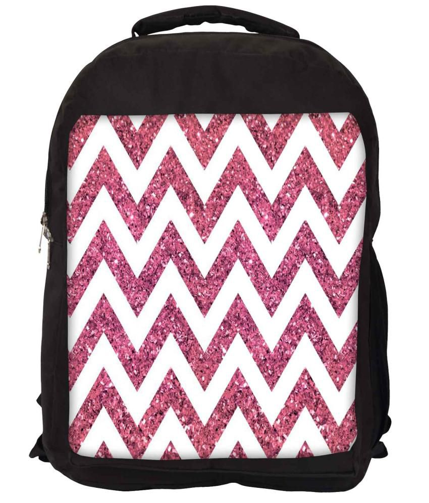 Snoogg White and Pink Nylon Laptop Backpack