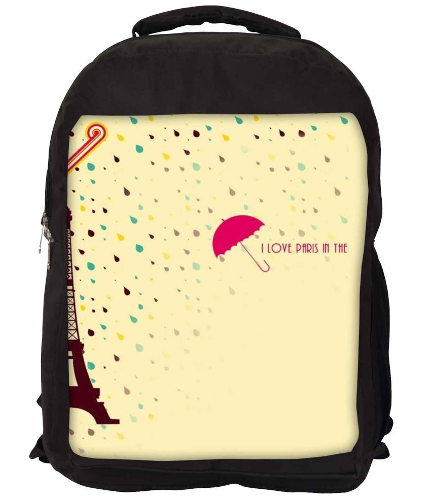Snoogg Yellow and Pink Nylon Laptop Backpack