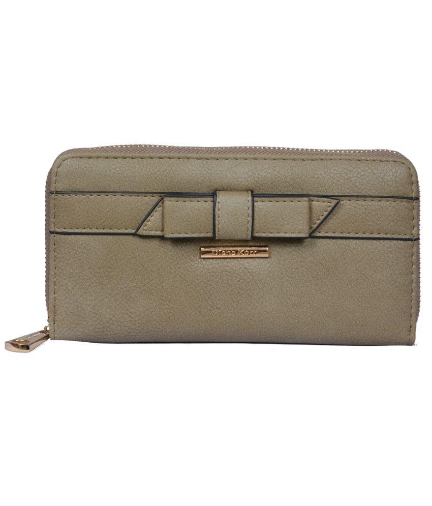 Diana Korr Non Leather Khaki Womens Regular Wallet