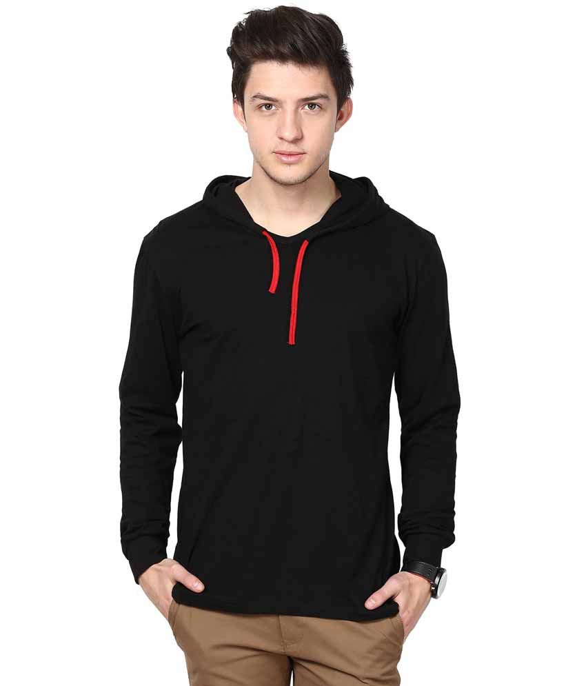 INKOVY Black Cotton Hooded T-shirt