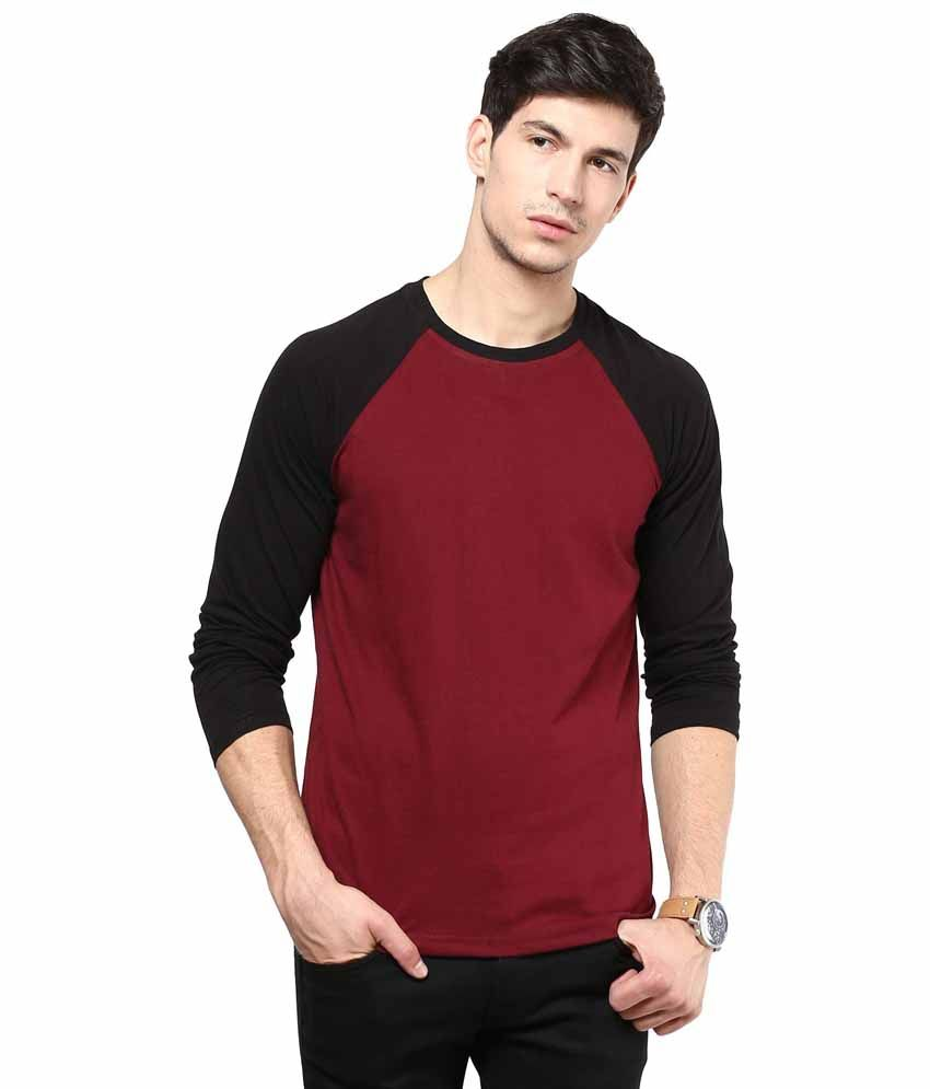 IZINC Maroon Cotton T-shirt