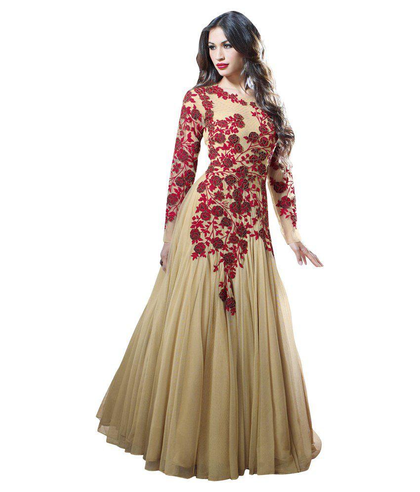 Indian Rag Beige Net Gowns - Buy Indian Rag Beige Net Gowns Online ...