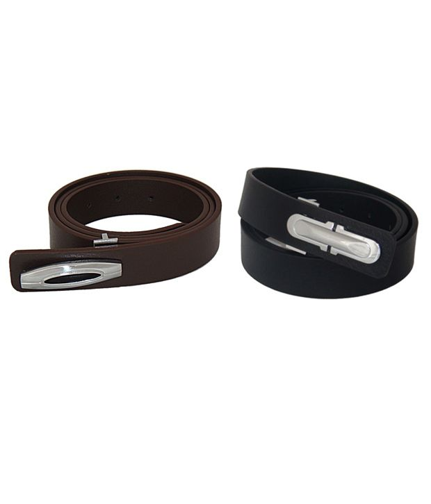 SFA Black and Brown Leather Belt - Pack of 2
