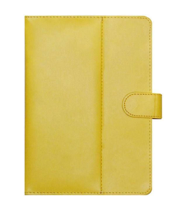 ACM Leather Flip Cover For Videocon VA72K - Yellow