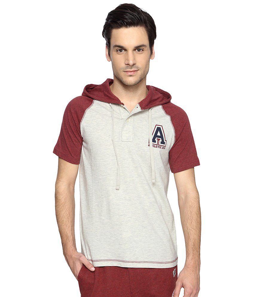 Ajile by Pantaloons Gray & Maroon Printed Activewear Hooded T Shirt