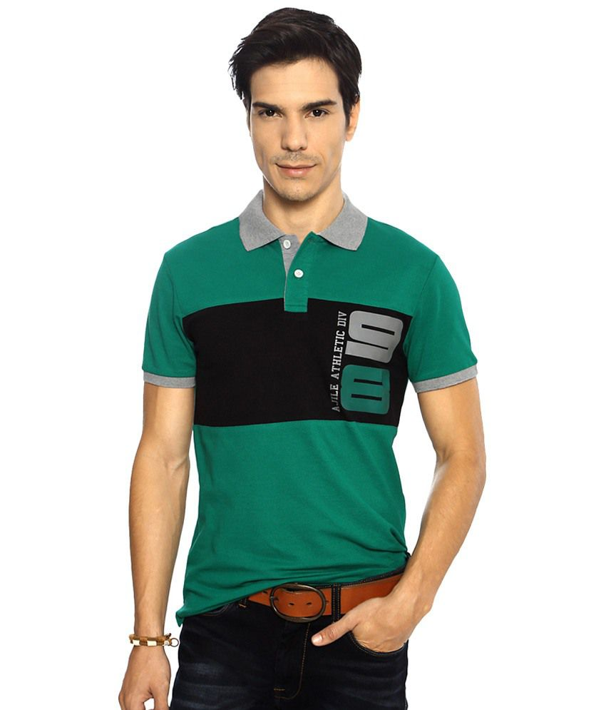 Ajile by Pantaloons Green & Black Casual Activewear Polo T Shirt