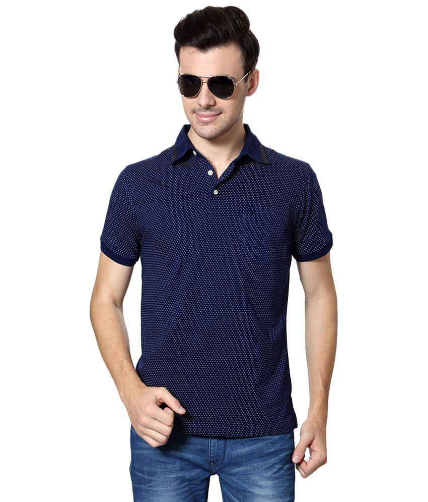 Allen Solly Blue & White Printed Casual T Shirt