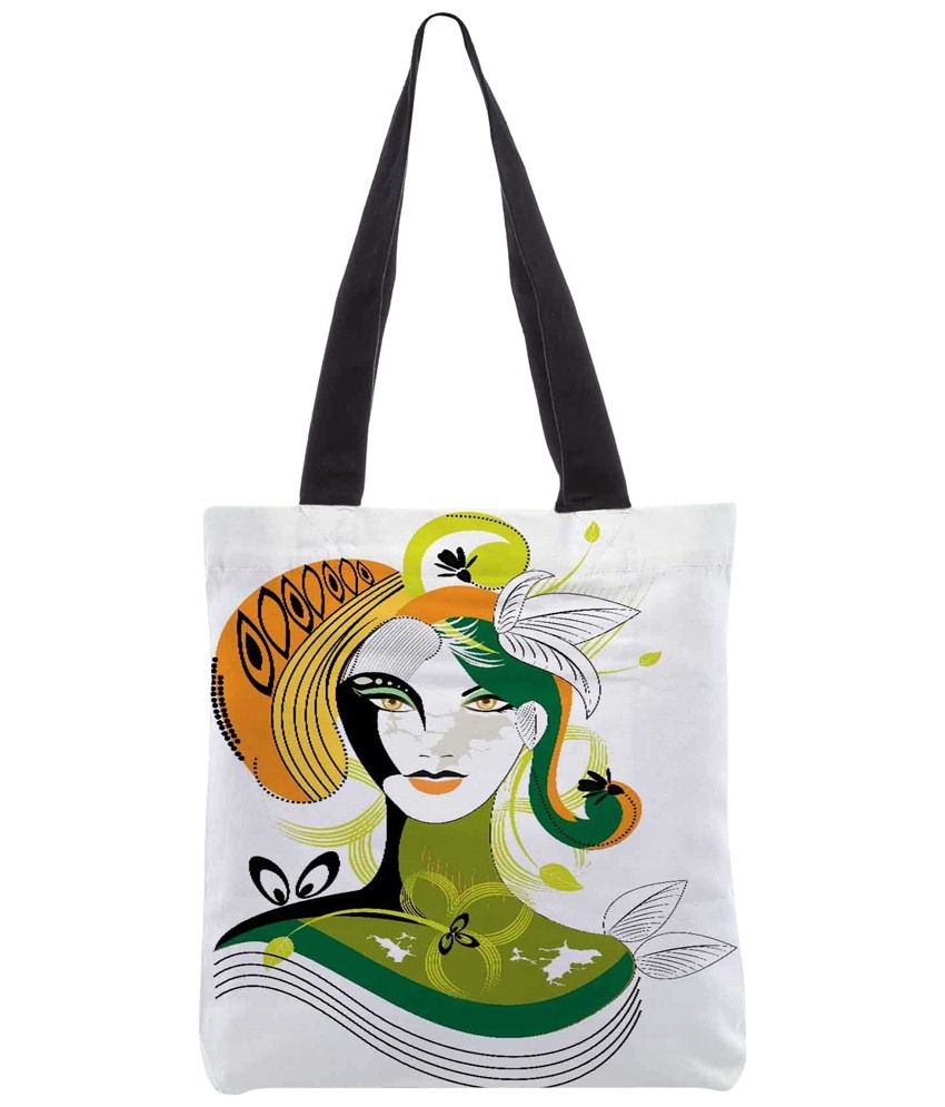 Snoogg White & Green Polyester Unisex Tote Bag
