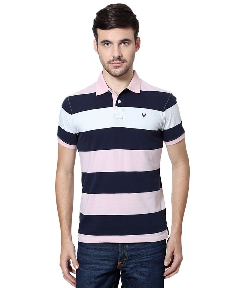 Allen Solly Blue & Pink Striped Casual Polo T Shirt