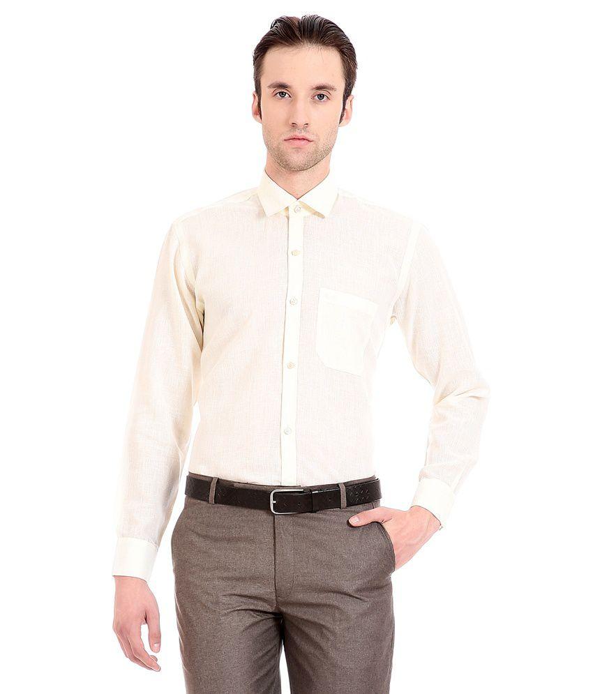 ae5e1c4ca86 ... Slim Fit Solid Formal Shirt Flyjohn Off-White Formal Shirt - Buy  Flyjohn Off-White Formal Shirt Online at ...