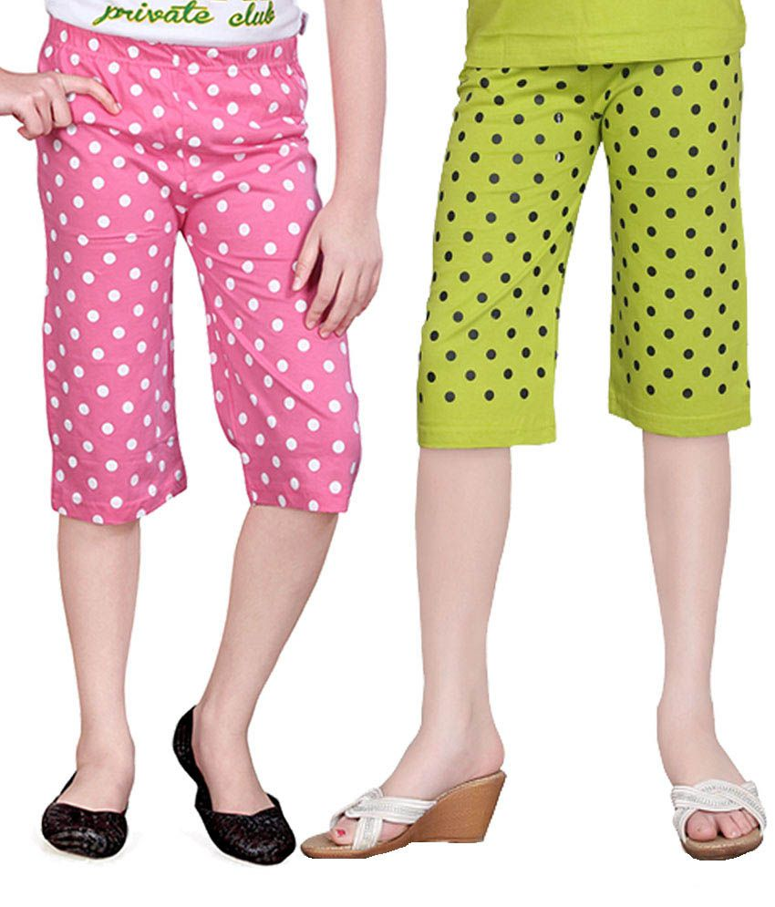 Sini Mini Multicolor Cotton Capri - Pack Of 2