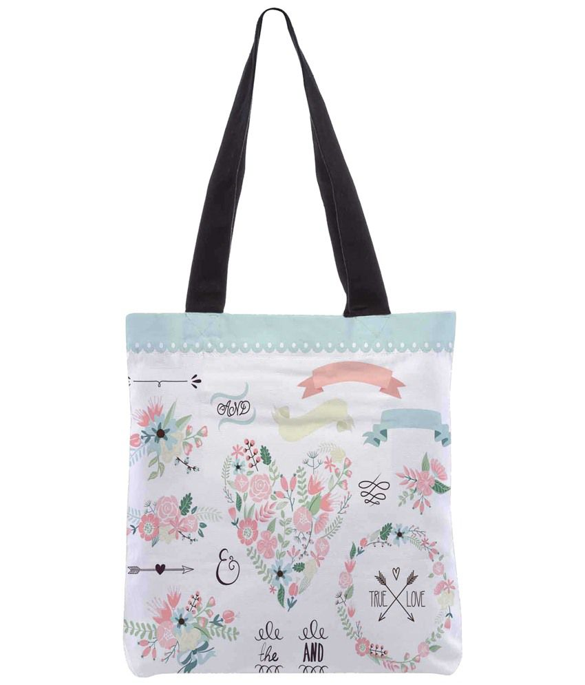 Snoogg Pink & White Polyester Unisex Tote Bag