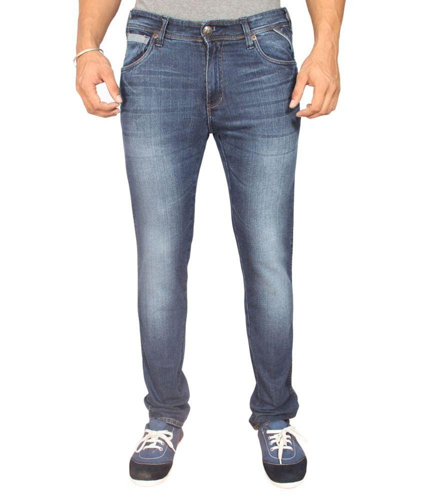 Wrangler Slim Fit Lycra Washed Jeans Dark Blue For Men