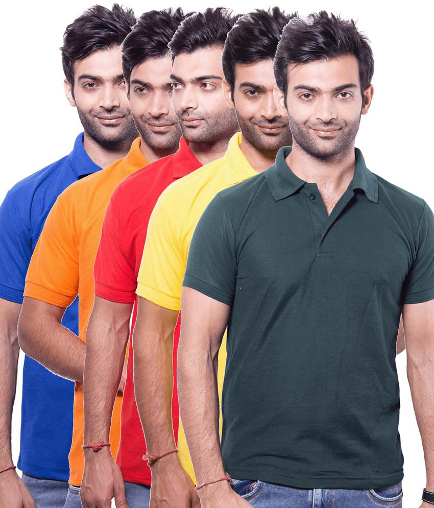 Zuvic Multicolor Half Sleeve Basic Polo T-Shirt - Pack Of 5