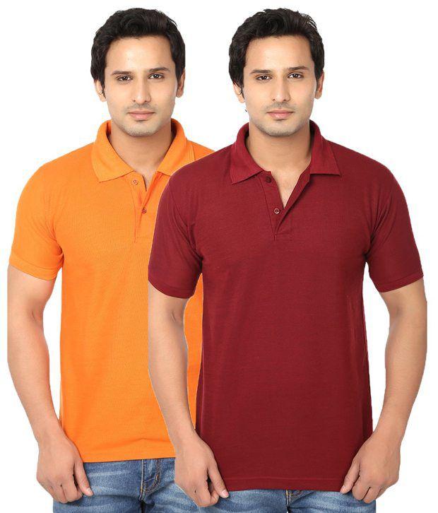 Awa Maroon And Orange Half Sleeves Basic Wear Polo T-shirt - Set Of 2