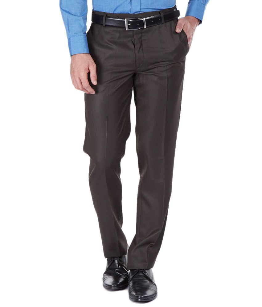 Clydesdale Black Slim Fit Formal Flat Trouser