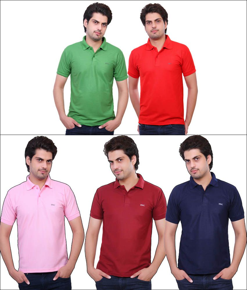 Hwc Multicolour Half Sleeves Polo T-shirt - Pack Of 5