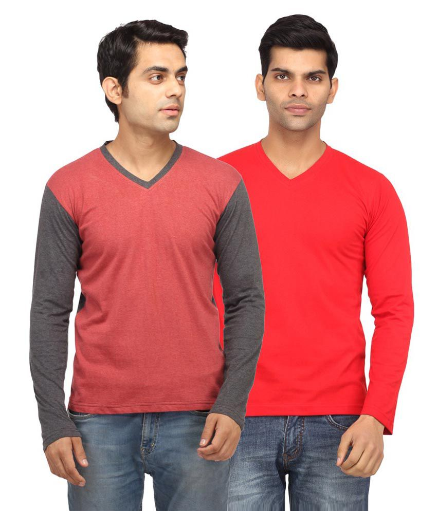Leana Red Cotton T- Shirt - Set Of 2