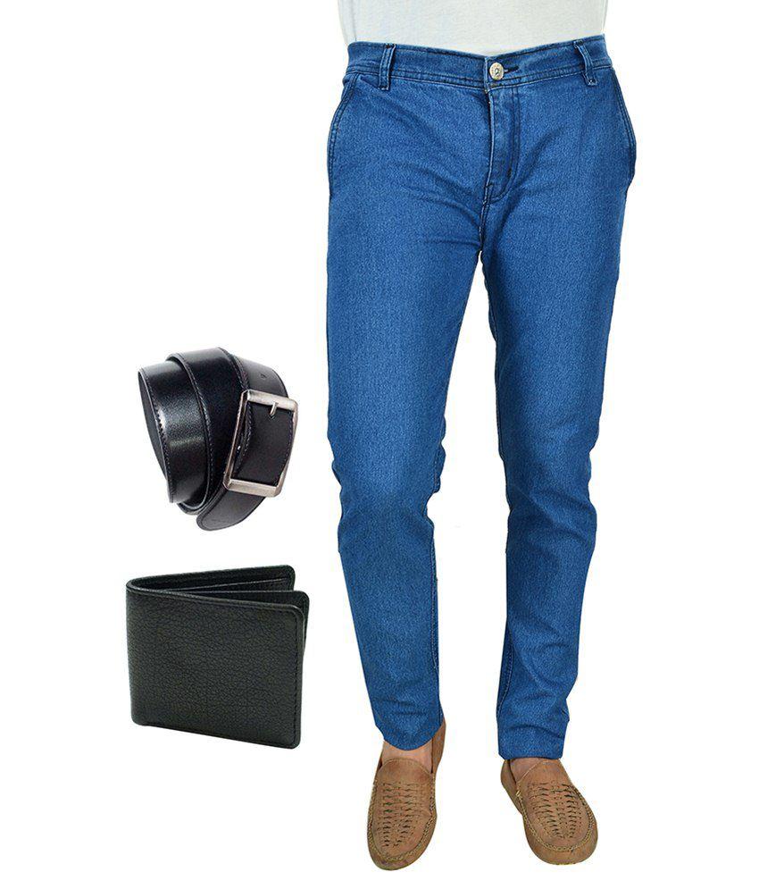 Fashion Combo Of Blue Slim Fit Jeans, Wallet & Belt