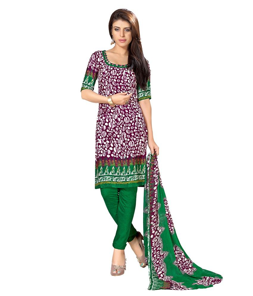 Khushali Purple Art Crepe Unstitched Dress Material