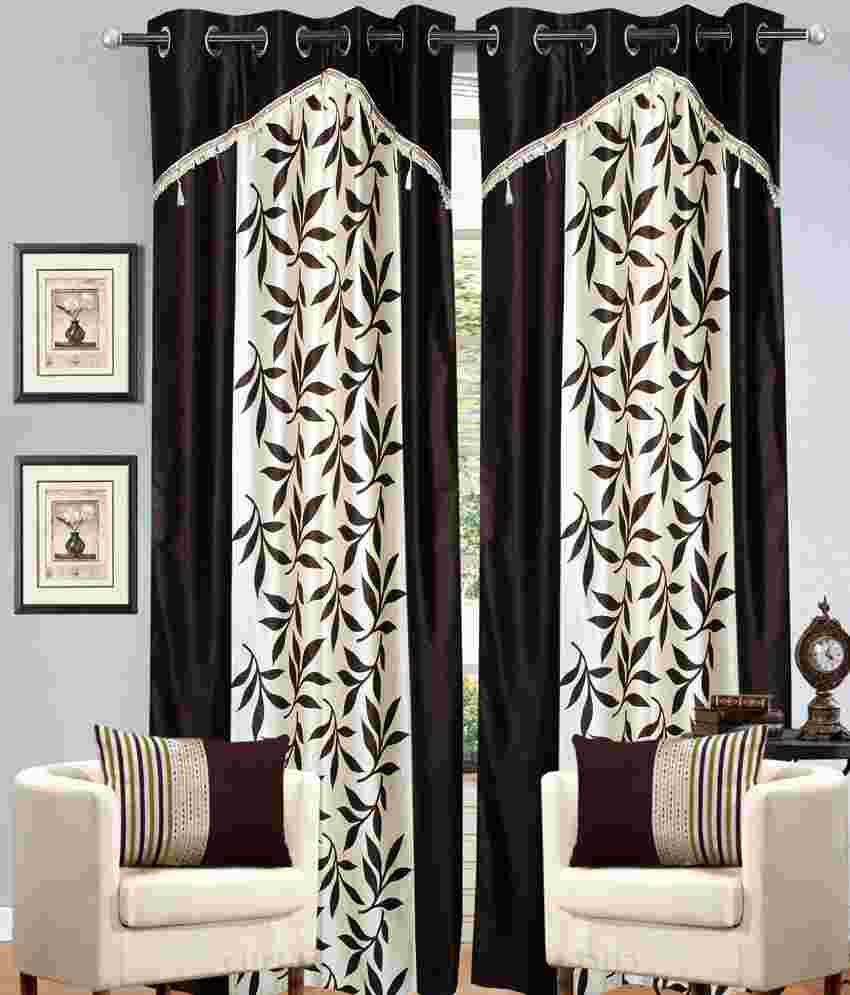 Molsan Home Decor Set Of 2 Window Eyelet Curtains Floral