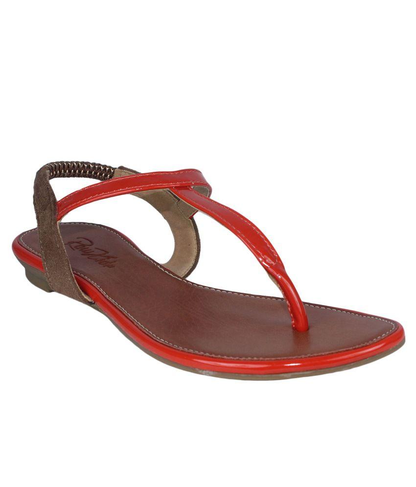 Raw Hide Orange & Brown Sandals