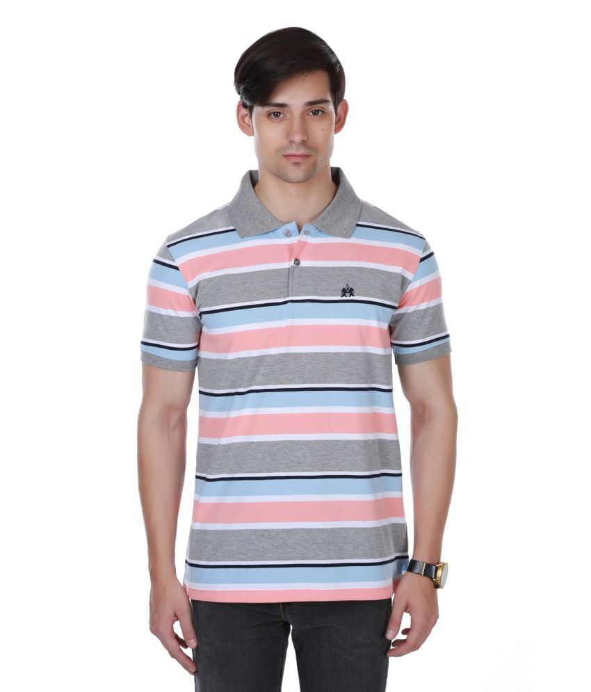 Cotton County Premium Grey and Pink Polyester Polo T-Shirt
