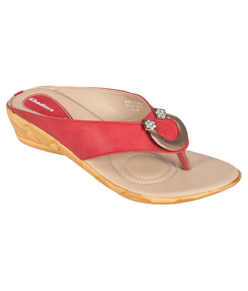 Khadim's Pink Wedges Heeled Slip Ons