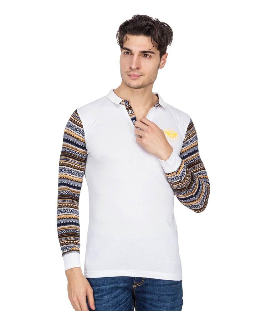 Rio 85 White Cotton Blend Full Sleeves Basic Polo T-shirt