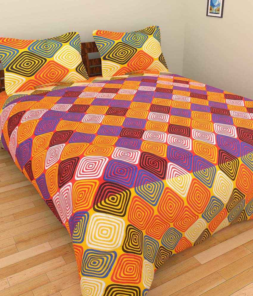 Bharti Multicolour Cotton Floral Double Bedsheet With 2 Pillow Cover