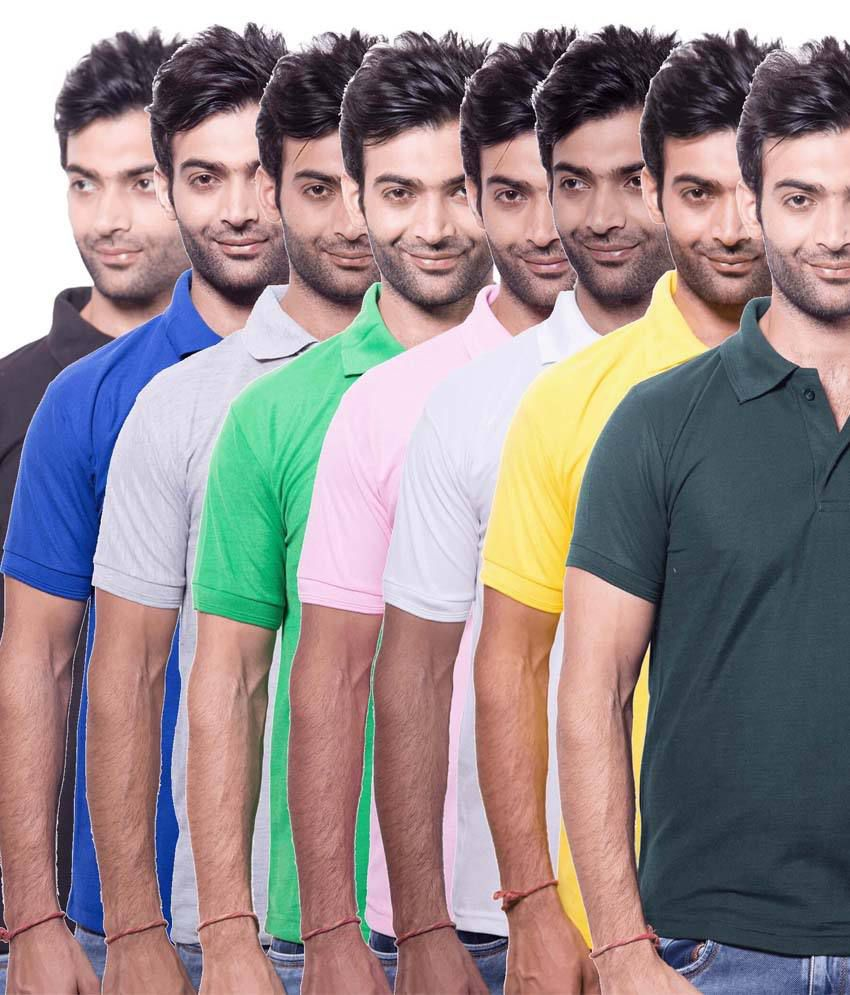 Zuvic Multicolor Cotton Blend Half Sleeves Basic Polo T-Shirts - Pack Of 8