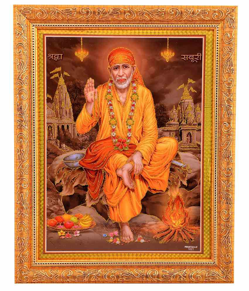 Bm Traders Golden Photo Of Shirdi Sai Baba With Golden Frame