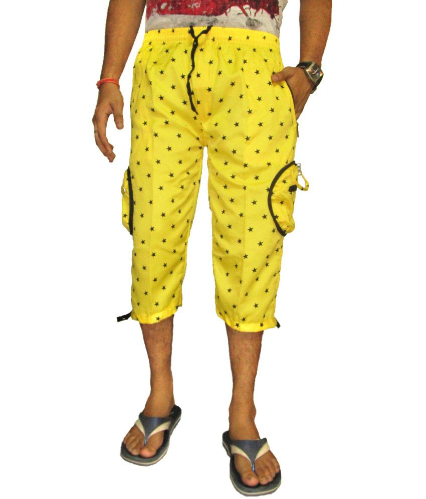 Fashion24 Yellow Printed Cotton Blend Capri for Men's
