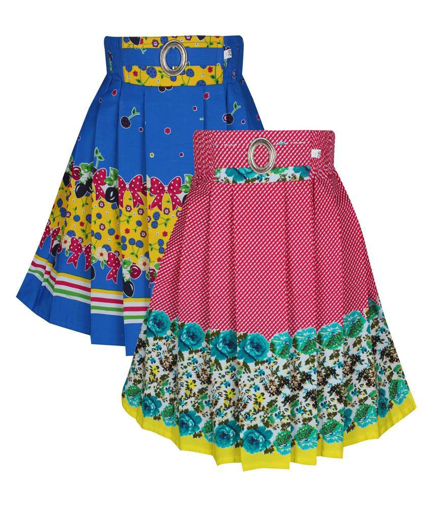 Jazzup Multicolour Cotton Skirt For Girls Pack Of 2