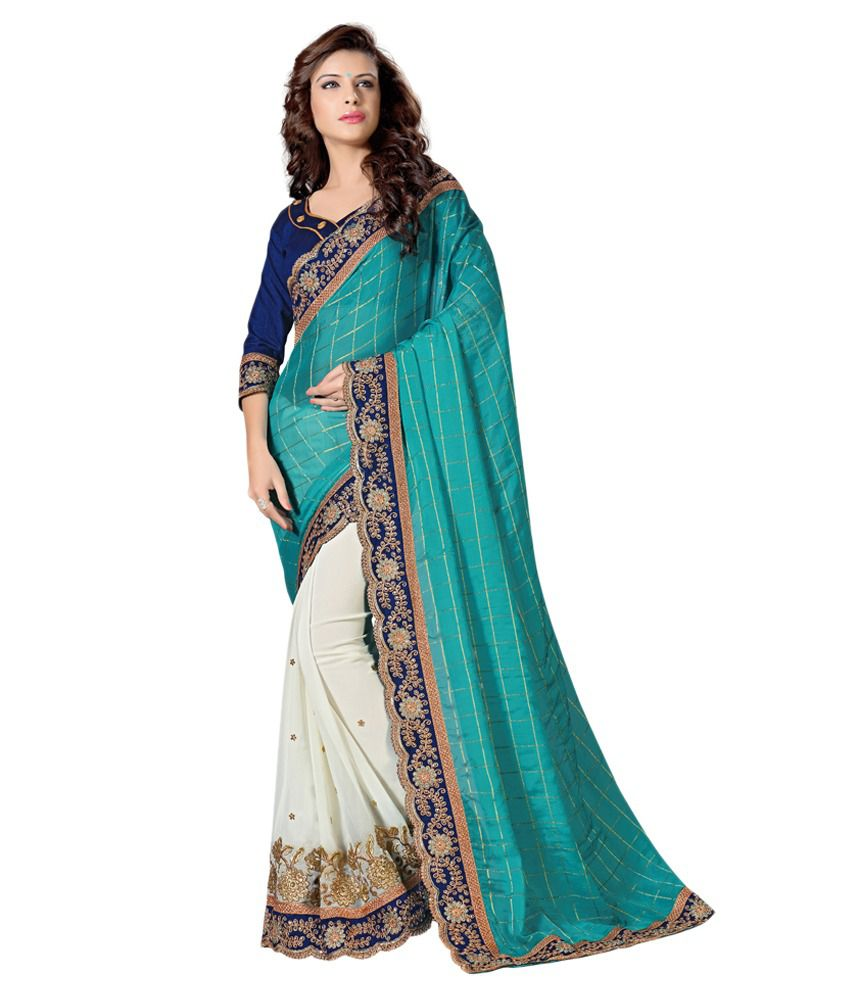 Lookslady Blue Silk Saree