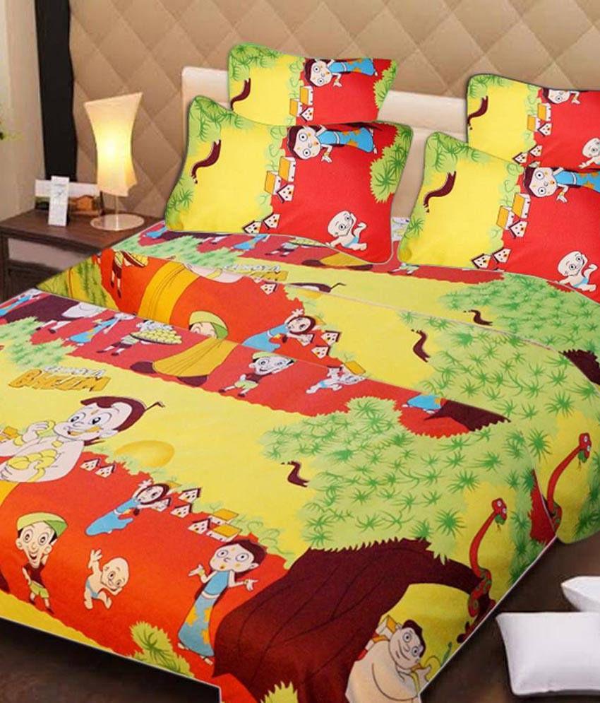 Singhs Villas Decor 3d Chota Bheem Kids Double Bedsheet With 2