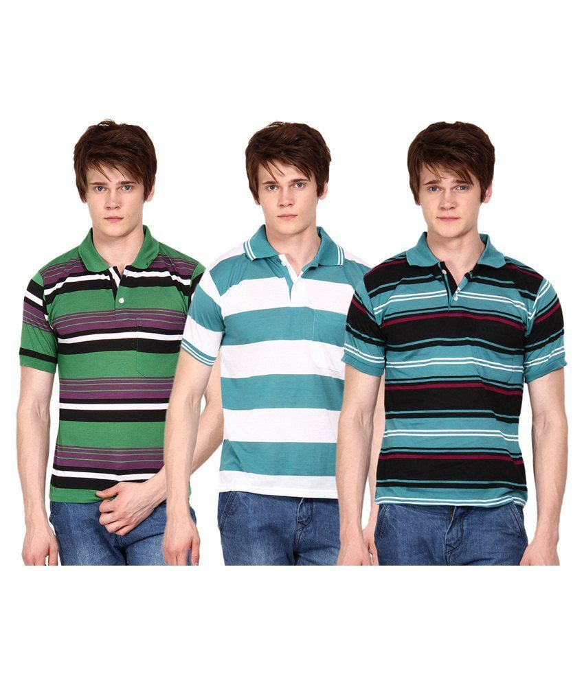 Wajbee Multicolour Cotton Blend Polo T-Shirt Combo Of 3