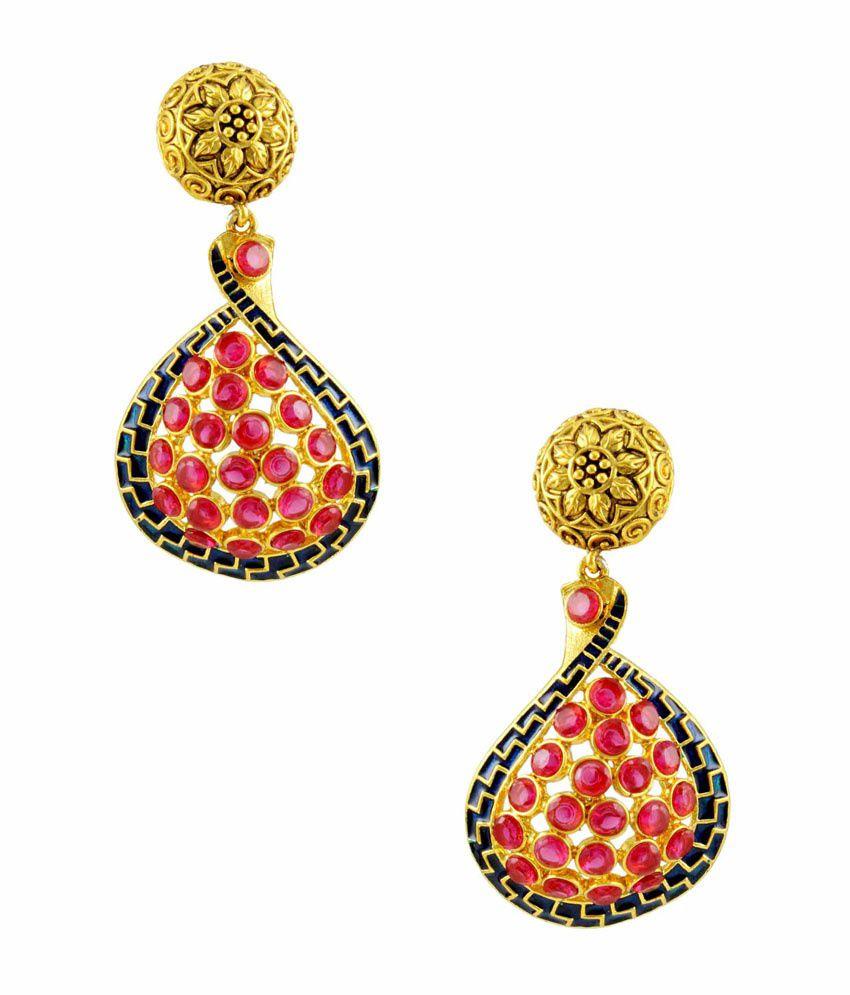 Orniza Pink Bridal Hanging Earrings