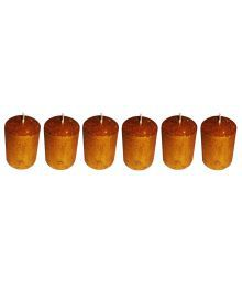 Atorakushon Smokeless Scented Pack Of 6 Golden Round Pillar Candles For Diwali - Pack Of 6