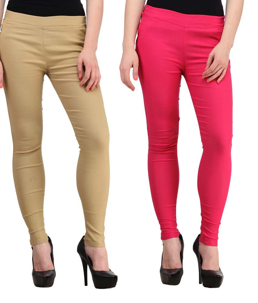 Fashion Arcade Pack of 2 Beige & Pink Solid Cotton Lycra Jeggings