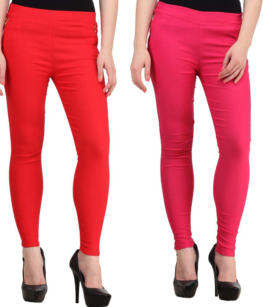 Fashion Arcade Pack of 2 Red & Pink Solid Cotton Lycra Jeggings