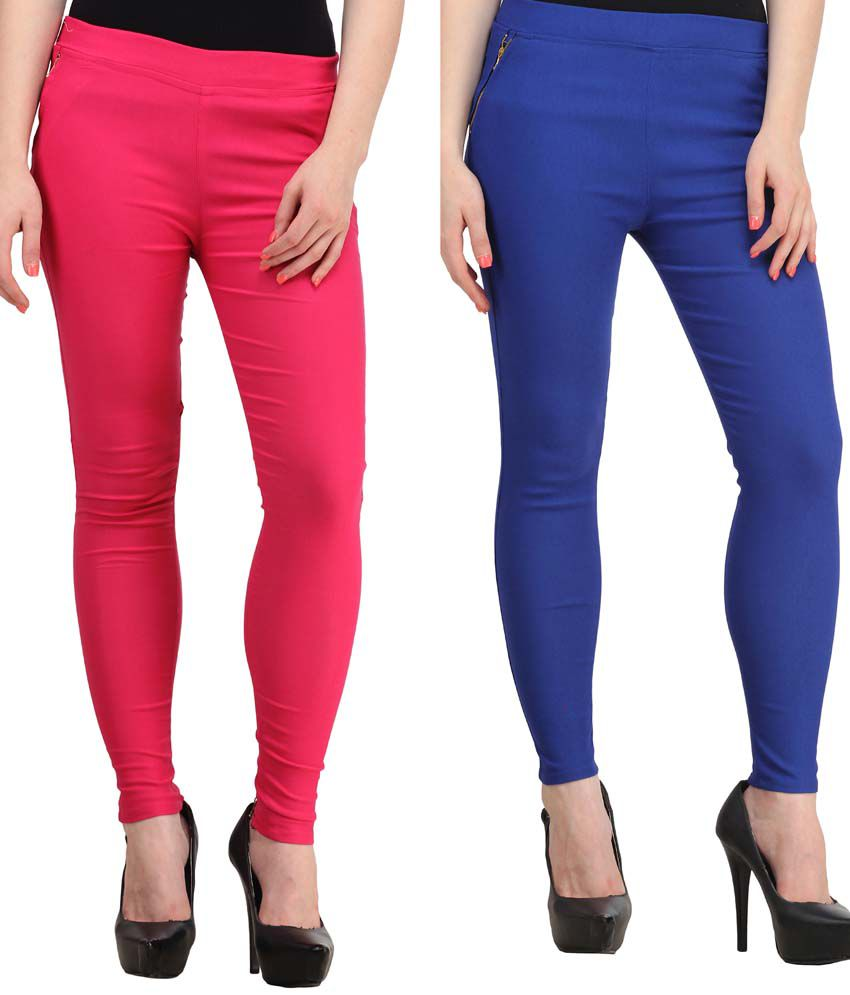 Fashion Arcade Pack of 2 Pink & Royal Blue Solid Cotton Lycra Jeggings