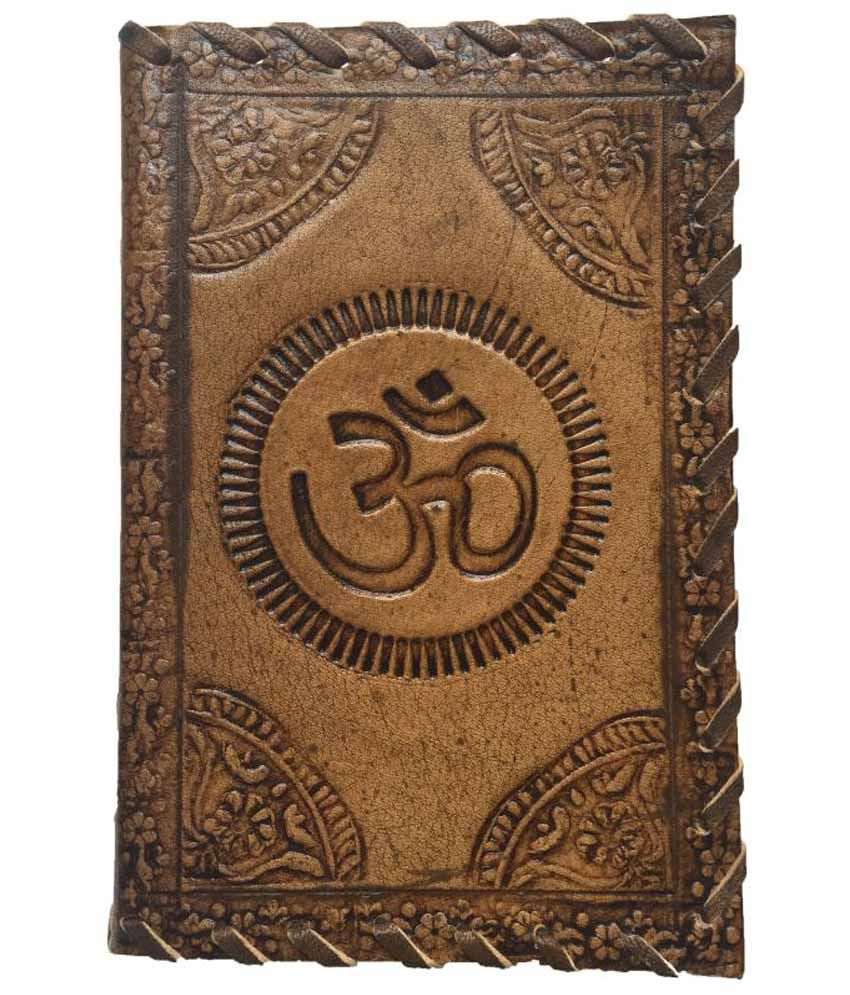 R Store Handmade Om Print Leather Cover diary with sallu silai (6x4 inch)