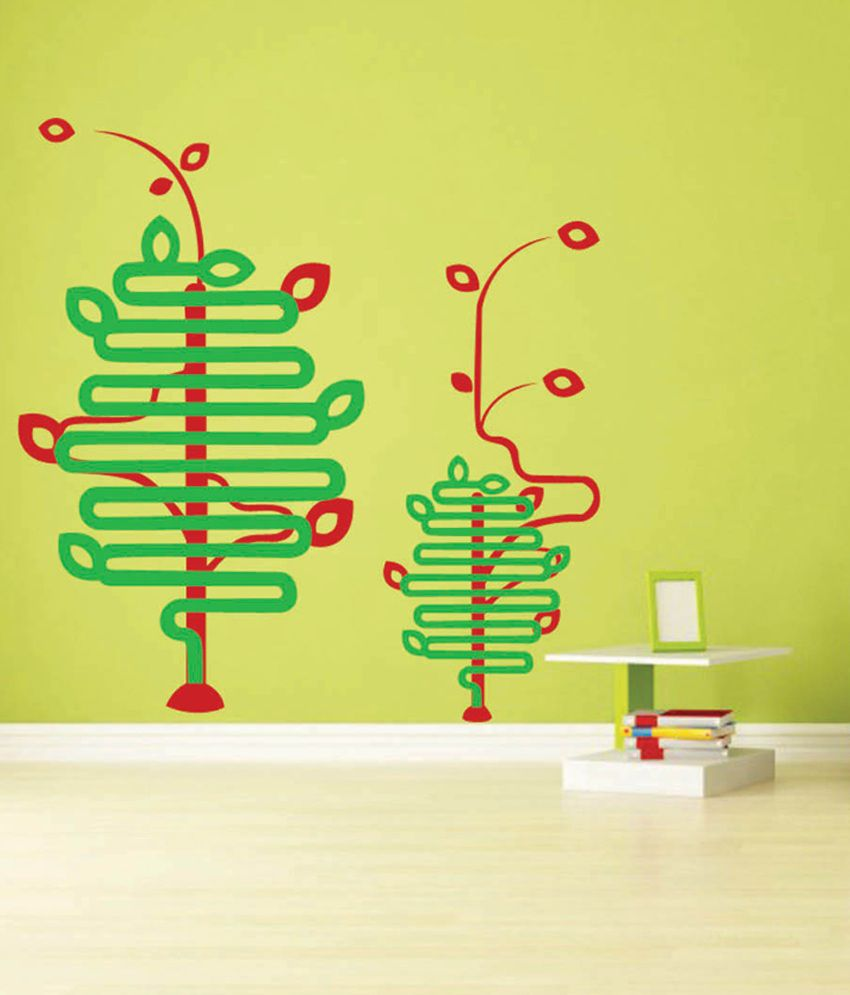 Trends On Wall Autumn Tree Line Art Wall Stickers - Green - Buy ...