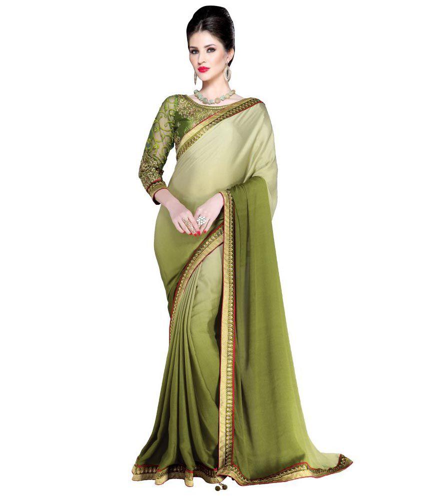 Viva N Diva Green Pure Crepe Saree