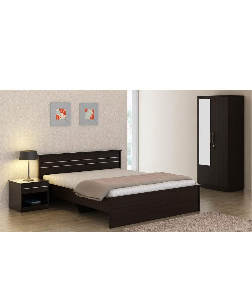 carnival wenge bedroom set (queen bed+ wardrobe with mirror + side