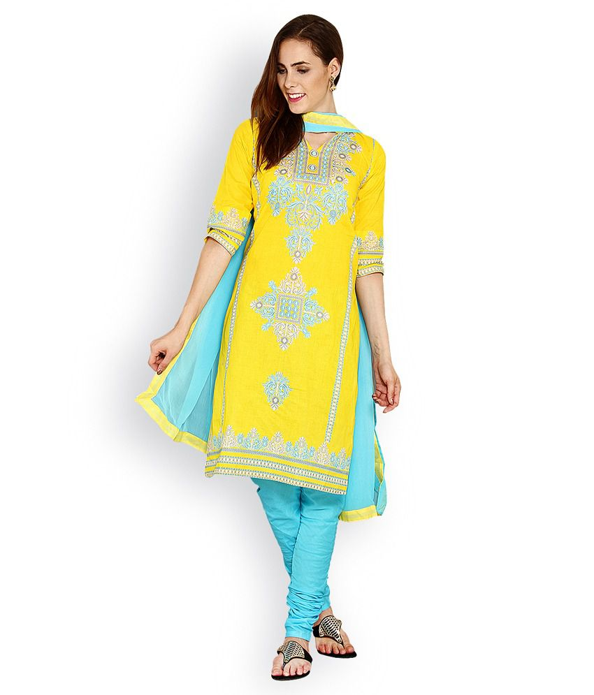 Ethnicqueen Yellow Cotton Stitched Suit