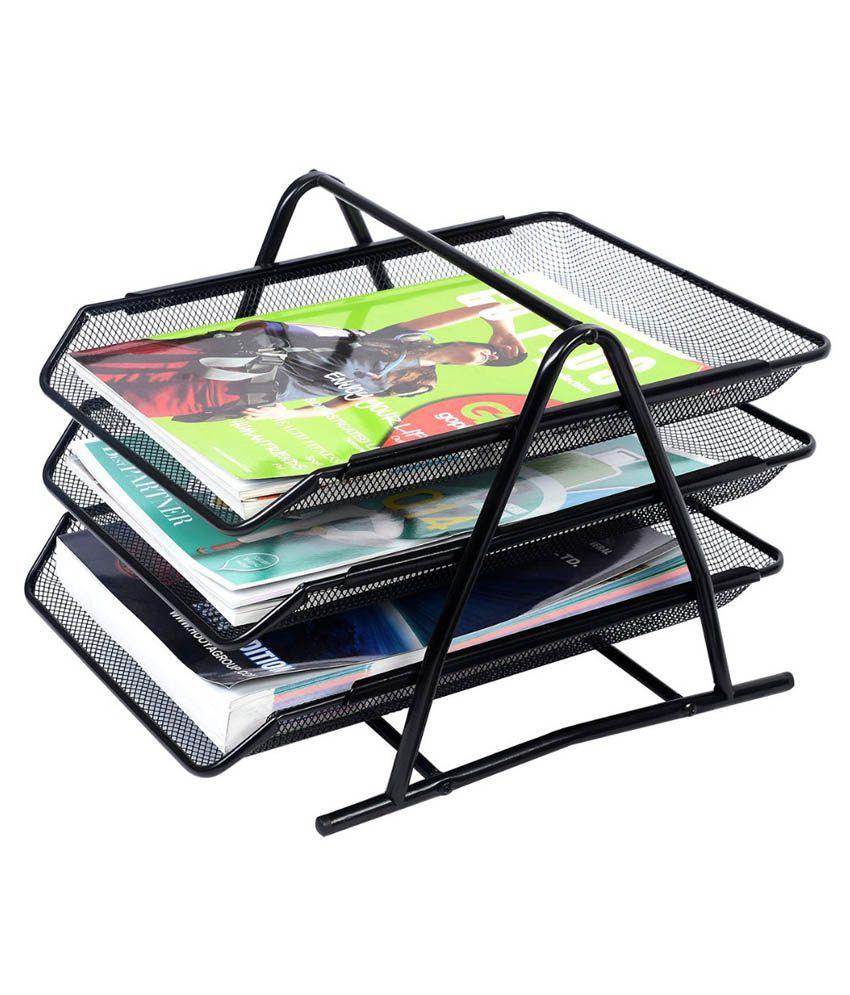 Houzfull Black Metal File Rack And Desk Organizer