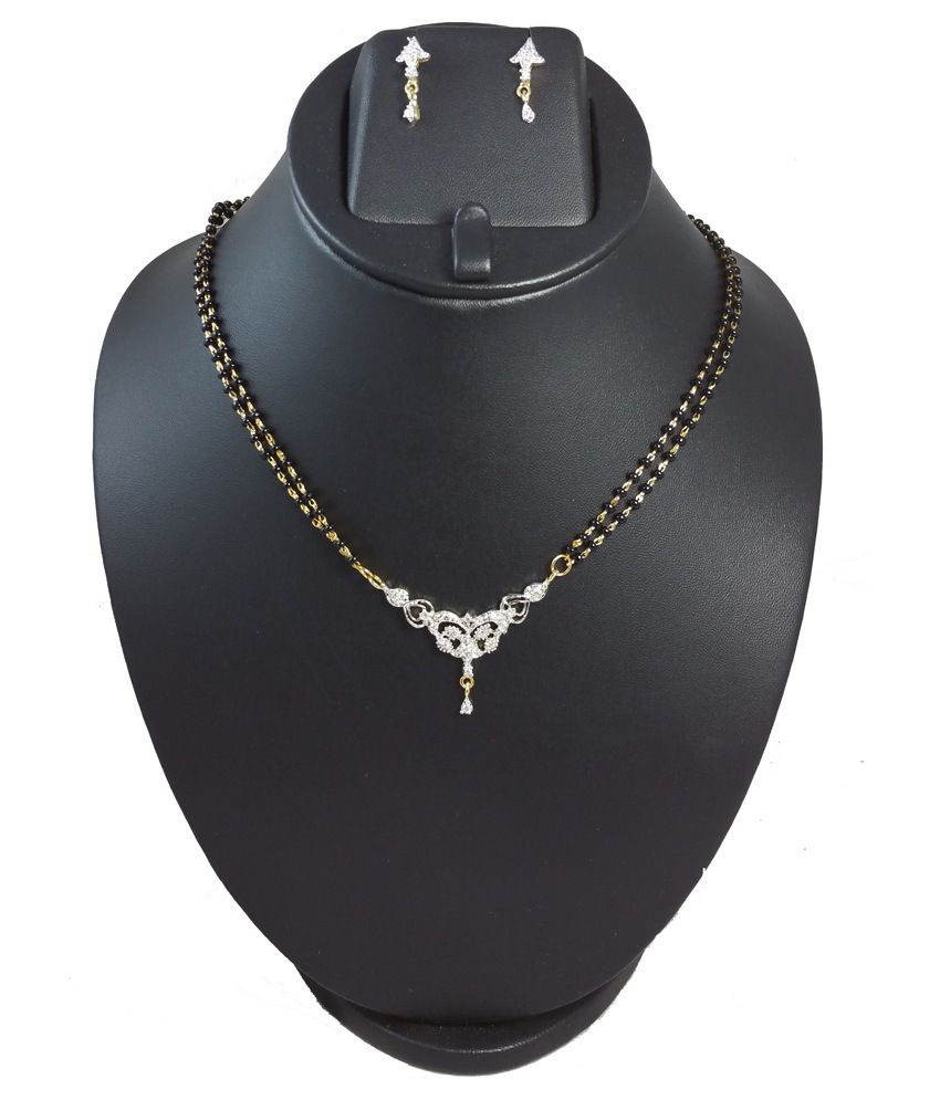 Ammvi Creations Black and Gold American diamond Mangalsutra with Earrings